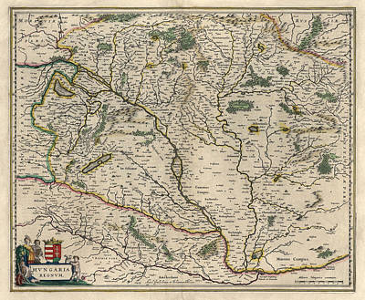 Drawing - Antique Map Of Hungary By Willem Janszoon Blaeu - 1647 by Blue Monocle