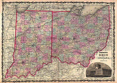 Antique Map Of Indiana And Ohio Art Print