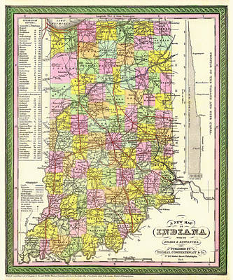 Antique Map Of Indiana Art Print