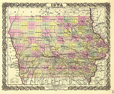 Collectible Drawing - Antique Map Of Iowa 1855 by Mountain Dreams