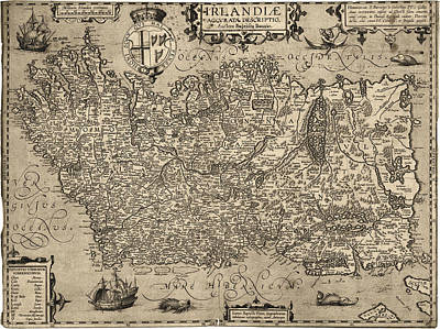 Drawing - Antique Map Of Ireland By Baptista Boazio - 1606 by Blue Monocle