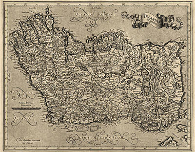 Ireland Drawing - Antique Map Of Ireland By Gerardus Mercator - Circa 1600 by Blue Monocle