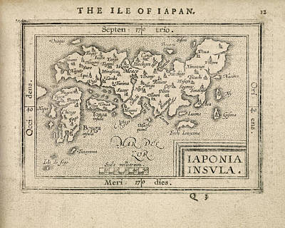 Drawing - Antique Map Of Japan By Abraham Ortelius - 1603 by Blue Monocle