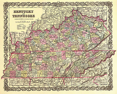 Antique Map Of Kentucky And Tennessee Art Print by Mountain Dreams