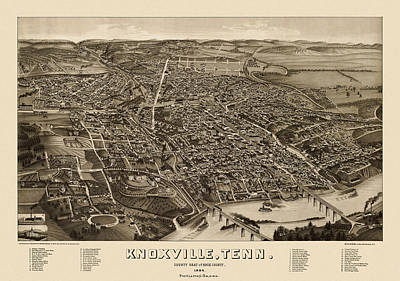 Tennessee Map Drawing - Antique Map Of Knoxville Tennessee By H. Wellge - 1886 by Blue Monocle