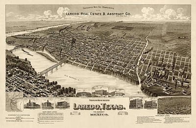 Drawing - Antique Map Of Laredo Texas - Circa 1892 by Blue Monocle