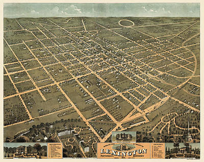 Lexington Drawing - Antique Map Of Lexington Kentucky By A. Ruger - 1871 by Blue Monocle