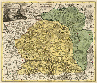 Antique Map Of Lithuania And Belarus By Tobias Conrad Lotter - Circa 1770 Print by Blue Monocle