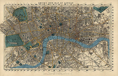 Great Drawing - Antique Map Of London By C. Smith And Son - 1860 by Blue Monocle