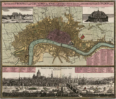 Antique Map Of London England By Johann Baptist Homann - Circa 1750 Print by Blue Monocle