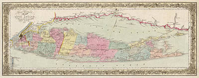 Antique Map Drawing - Antique Map Of Long Island By J.h. Colton And Co. - 1857 by Blue Monocle