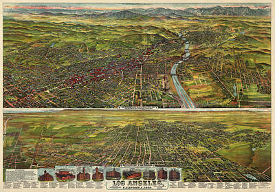 Los Angeles Drawing - Antique Map Of Los Angeles California By B.w. Pierce - 1894 by Blue Monocle
