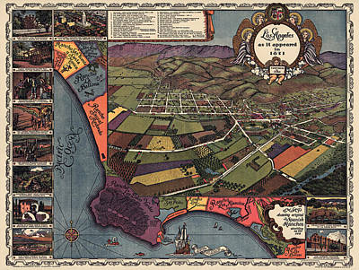Los Angeles Drawing - Antique Map Of Los Angeles California By Gores - 1929 by Blue Monocle