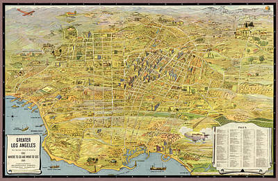 Los Drawing - Antique Map Of Los Angeles California By K. M. Leuschner - 1932 by Blue Monocle
