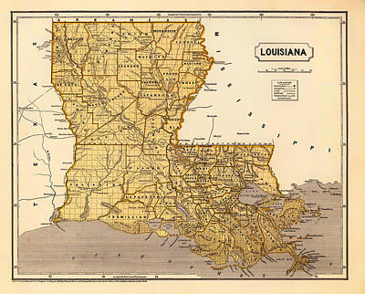 Old Country Roads Drawing - Antique Map Of Louisiana 1845 by Mountain Dreams