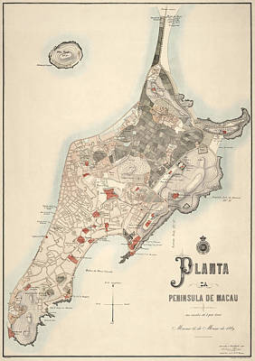 Drawing - Antique Map Of Macau China By The Sociedade De Geografia De Lisboa - 1889 by Blue Monocle