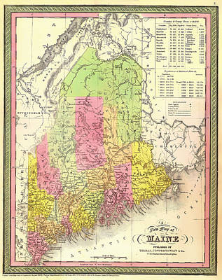 Maine Roads Drawing - Antique Map Of Maine 1850 by Mountain Dreams