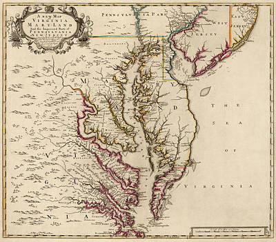 Antique Map Drawing - Antique Map Of Maryland And Virginia By John Senex - 1719 by Blue Monocle