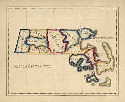 Antique Map Of Massachusetts By A. T. Perkins - Circa 1820 Art Print by Blue Monocle