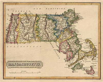 Antique Drawing - Antique Map Of Massachusetts By Fielding Lucas - Circa 1817 by Blue Monocle