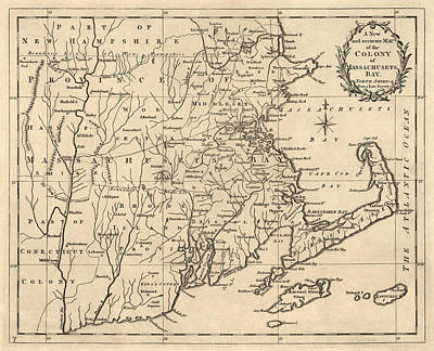 Drawing - Antique Map Of Massachusetts By John Hinton - 1780 by Blue Monocle
