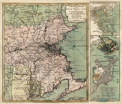 Massachusetts Drawing - Antique Map Of Massachusetts By R. Sayer And J. Bennett - 1775 by Blue Monocle