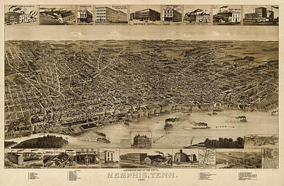 Antique Map Drawing - Antique Map Of Memphis Tennessee By H. Wellge - 1887 by Blue Monocle