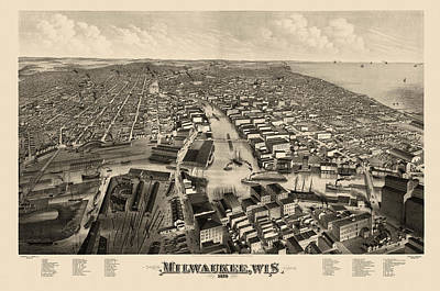 Drawing - Antique Map Of Milwaukee Wisconsin By J.j. Stoner - 1879 by Blue Monocle
