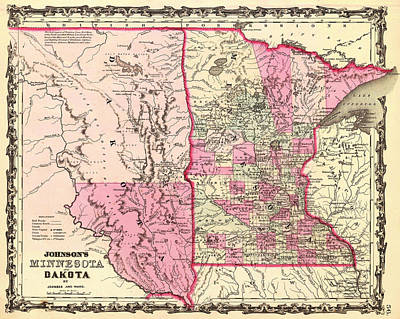 Featured Drawings Drawing - Antique Map Of Minnesota And The Dakota Territory 1862 by Mountain Dreams