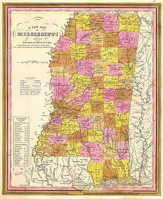 Drawing - Antique Map Of Mississippi 1846 by Mountain Dreams