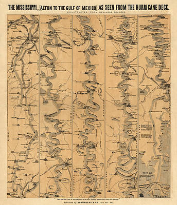 Drawing - Antique Map Of Mississippi River By Schonberg And Co. - 1861 by Blue Monocle
