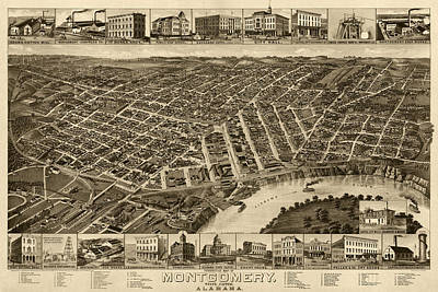 Alabama Drawing - Antique Map Of Montgomery Alabama By H. Wellge - 1887 by Blue Monocle