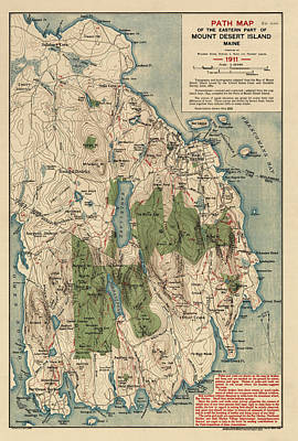 Antique Map Of Mount Desert Island - Acadia National Park - By Waldron Bates - 1911 Art Print by Blue Monocle