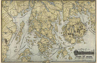 Mount Rushmore Drawing - Antique Map Of Mount Desert Island And The Coast Of Maine - Circa 1900 by Blue Monocle