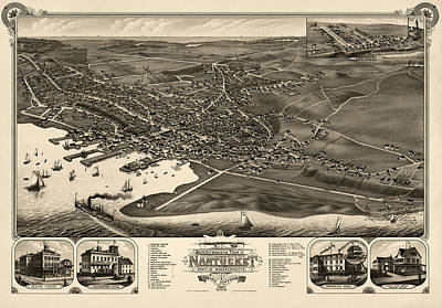 Nantucket Drawing - Antique Map Of Nantucket Massachusetts By J.j. Stoner - 1881 by Blue Monocle