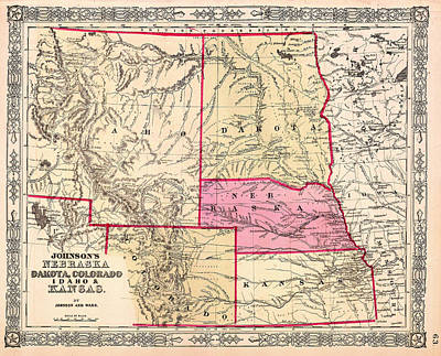 Featured Drawings Drawing - Antique Map Of Nebraska Dakota Colorado Idaho And Kansas 1863 by Mountain Dreams