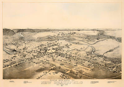 1880s Drawing - Antique Map Of New Braunfels Texas 1881 by Mountain Dreams