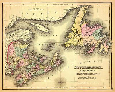 Newfoundland Drawing - Antique Map Of New Brunswick Nova Scotia And Newfoundland 1858 by Mountain Dreams