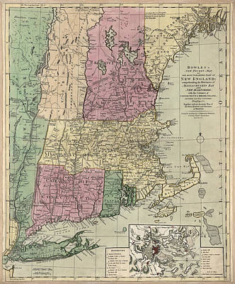 Vermont Map Drawing - Antique Map Of New England By Carington Bowles - Circa 1780 by Blue Monocle