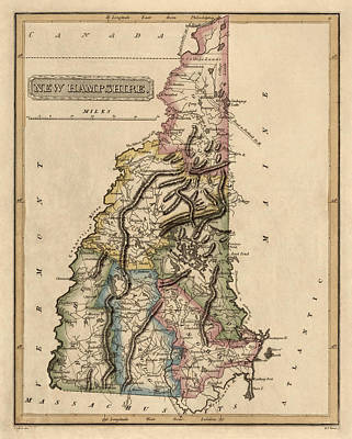 Antique Drawing - Antique Map Of New Hampshire By Fielding Lucas - Circa 1817 by Blue Monocle