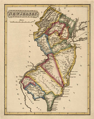 Old Drawing - Antique Map Of New Jersey By Fielding Lucas - Circa 1817 by Blue Monocle