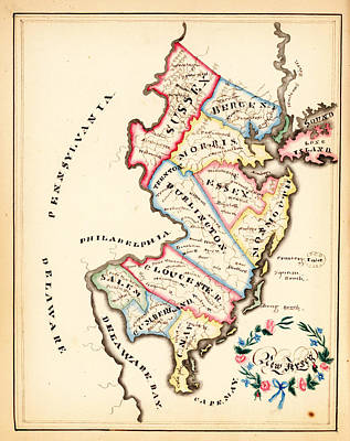 Africa Painting - Antique Map Of New Jersey by Celestial Images