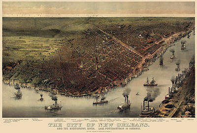 Antique Map Drawing - Antique Map Of New Orleans By Currier And Ives - Circa 1885 by Blue Monocle