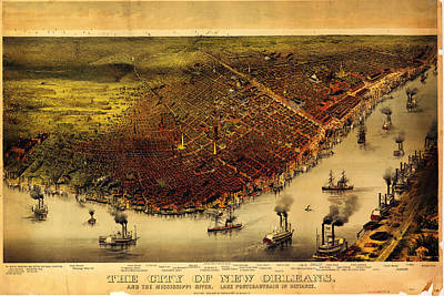 Africa Painting - Antique Map Of New Orleans by Celestial Images