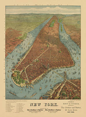 Map Of New York Drawing - Antique Map Of New York City - 1879 by Blue Monocle