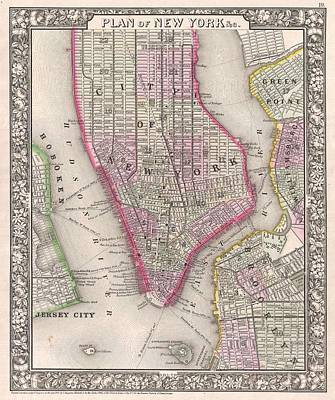 1860 Drawing - Antique Map Of New York City And Brooklyn 1860 by Mountain Dreams