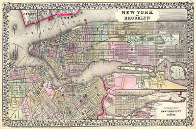 Historic Street Drawing - Antique Map Of New York City And Brooklyn 1867 by Mountain Dreams