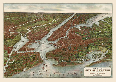 Map Of New York Drawing - Antique Map Of New York City By August R. Ohman - 1907 by Blue Monocle