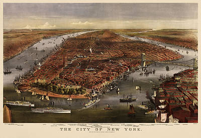 City Map Drawing - Antique Map Of New York City By Currier And Ives - 1870 by Blue Monocle