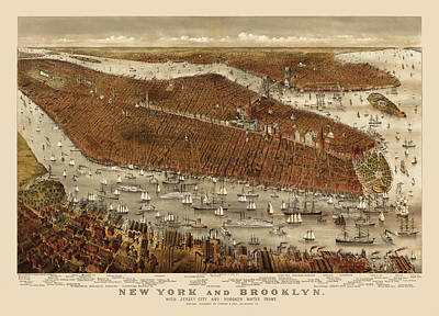 City Art Drawing - Antique Map Of New York City By Currier And Ives - Circa 1877 by Blue Monocle